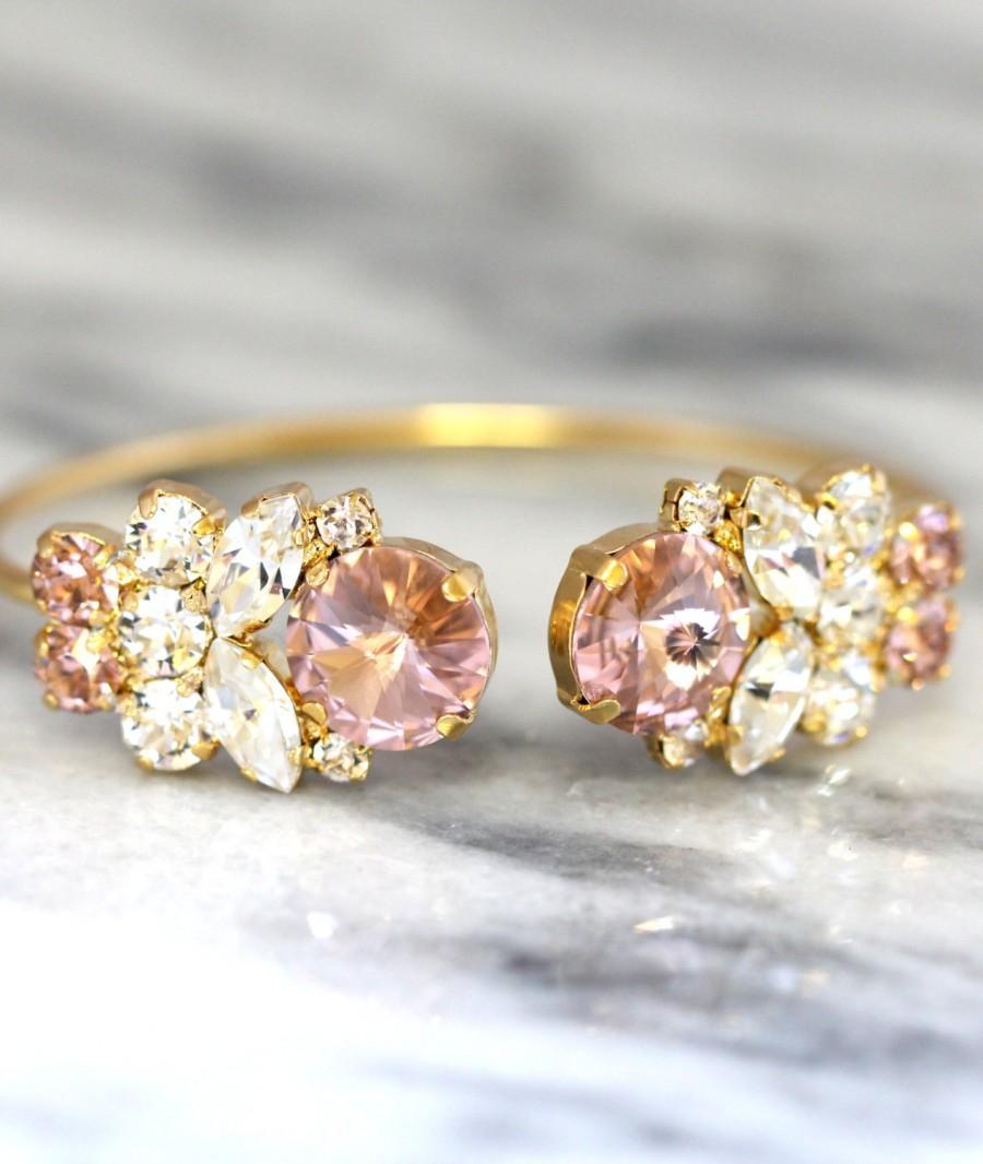 Mariage - Blush Bracelet,Swarovski Bridal Blush bracelet,Bridal Rose Gold Bracelet,Bangle Gold Bridal Bracelet,Bridesmaids Gifts,Rose Gold Bracelet