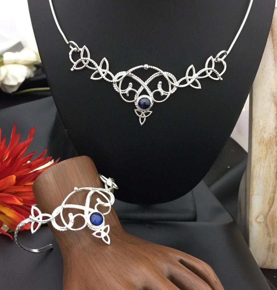 Свадьба - Renaissance Bridal Jewelry Set, Wedding Circlet, Statement Choker Necklace, Gemstone Bracelet Cuff, Celtic Earrings, Sapphire Gem Set