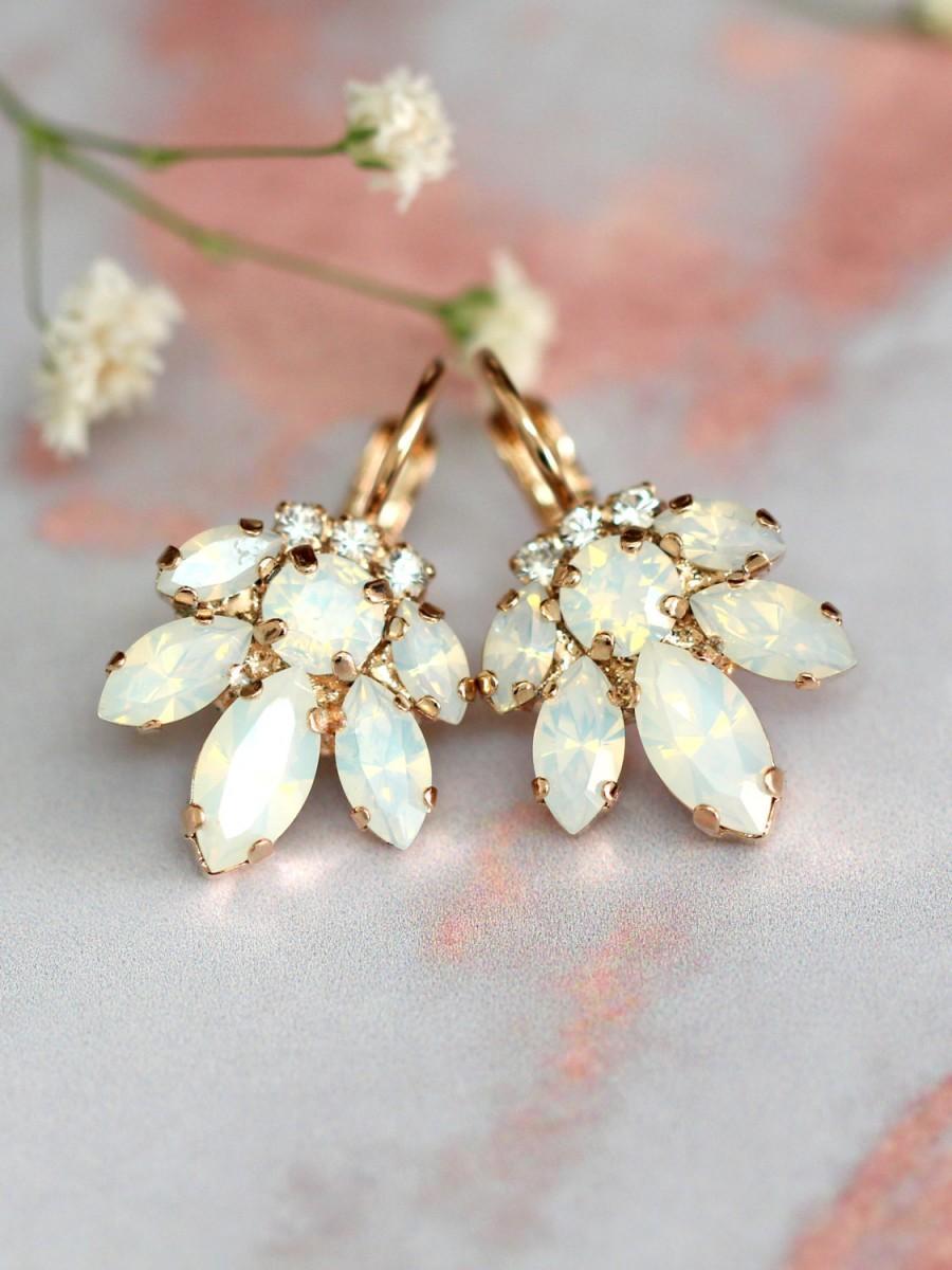 Свадьба - Bridal Opal Earrings, Crystal Drop Opal Earrings, Bridal Cluster Earrings, Drop Earrings, Swarovski Opal Earrings,Bridesmaids Earrings