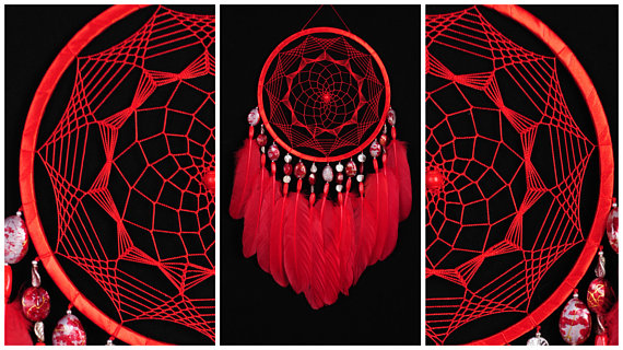 Wedding - Red Dreamcatcher Decor boho Dream Catcher red Dreamcatcher Dream сatcher dreamcatchers dark red dreamcatchers wall red decor handmade gift