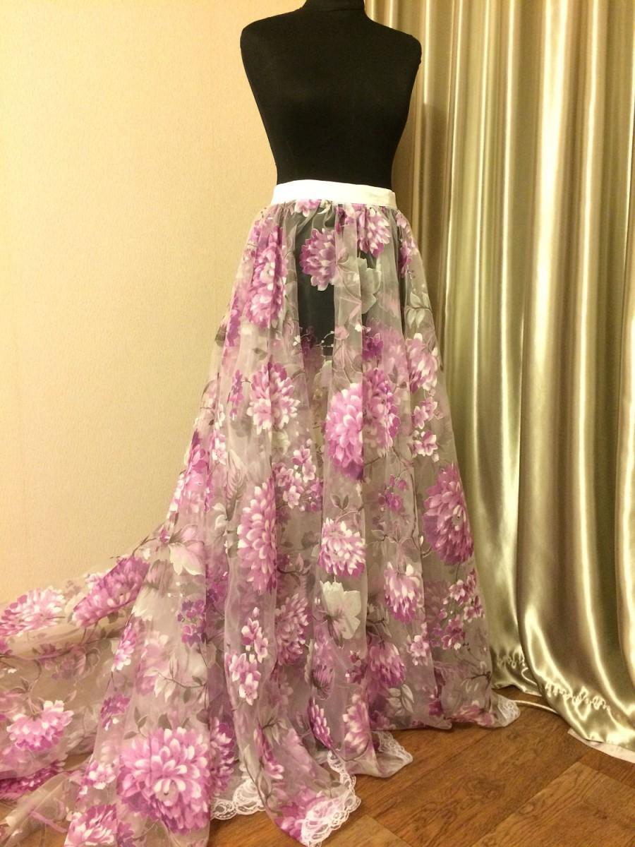 Floral organza wedding skirt floral overskirt wedding for Removable tulle skirt wedding dress