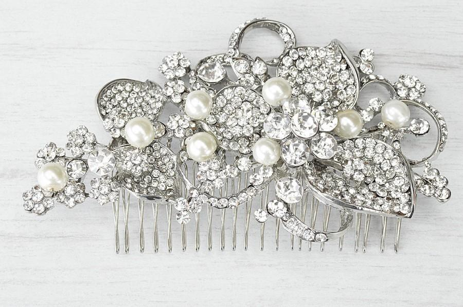 Свадьба - Rhinestones hair comb for bride. Pearls and crystals hair comb. Wedding hair comb vintage style. Art decor wedding hair comb