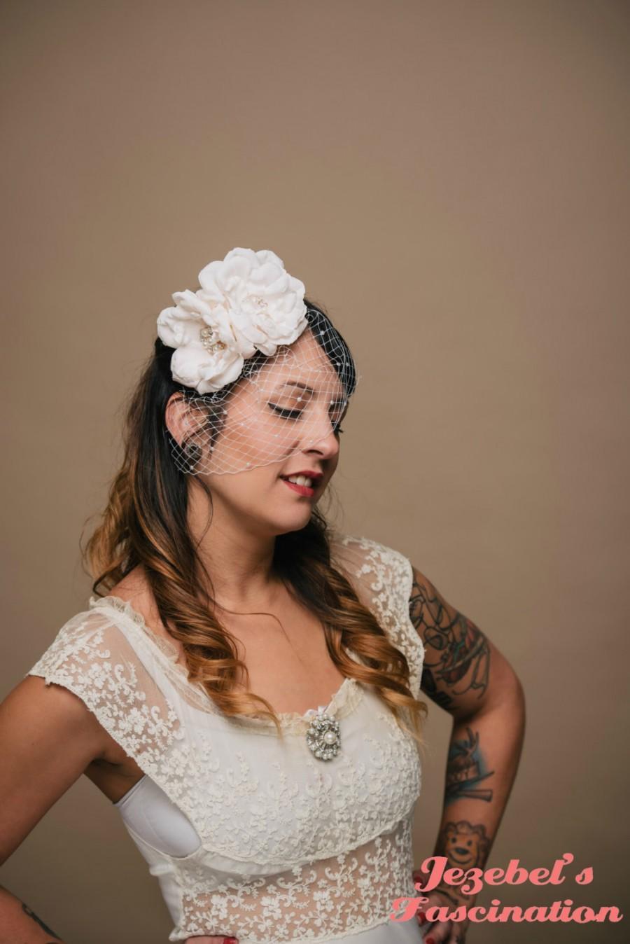 Blush Bridal Veil Fascinator Small Pearl Wedding Rose Headpiece ...