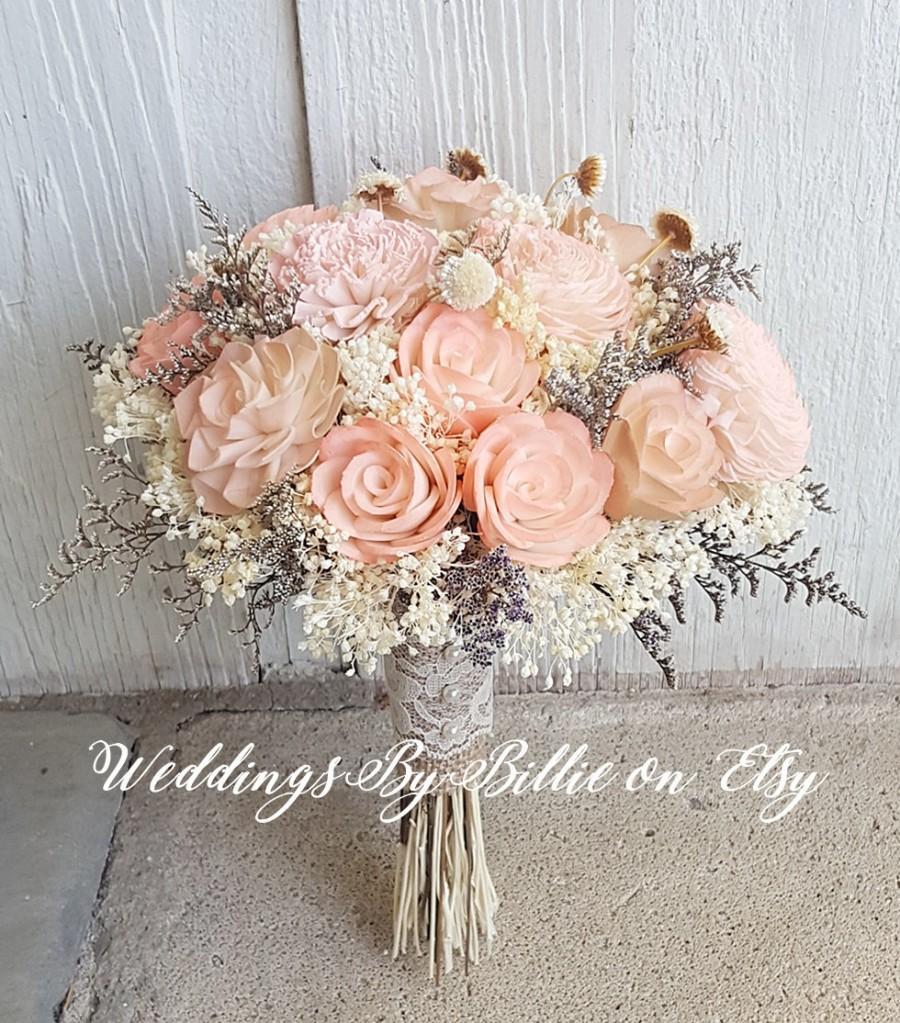 Peach Sola Wedding Bouquet, Peach Blush Wedding, Pale Peach Wedding ...