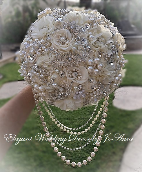 Wedding - IVORY JEWELED BOUQUET All Silver Brooch Wedding Bouquet Brooch Bouquet Broach Bouquet in Ivory and Silver Jeweled Brides Bouquet, Deposit