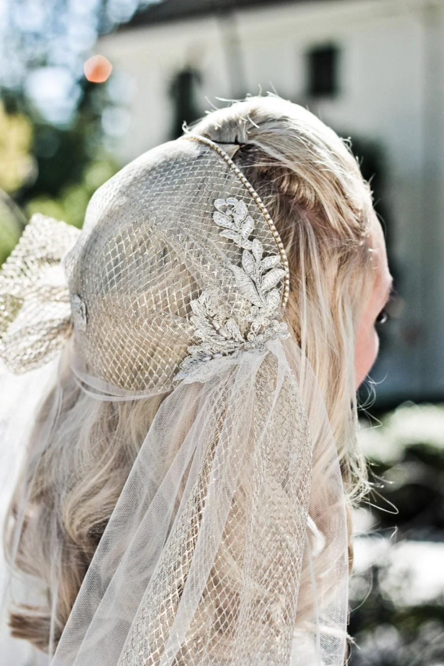 Свадьба - Juliet Cap Wedding Veil, Alencon Lace, Rhinestone Bridal Cap, Pearls, Cathedral, Chapel, Waltz, Blusher, Ivory, Champagne, Style: Lola Gold