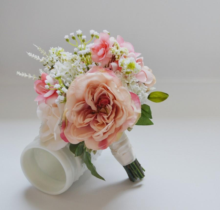 Свадьба - Blush and Ivory Bridesmaid Bouquet, Flower Girl Bouquet, Garden Bouquet