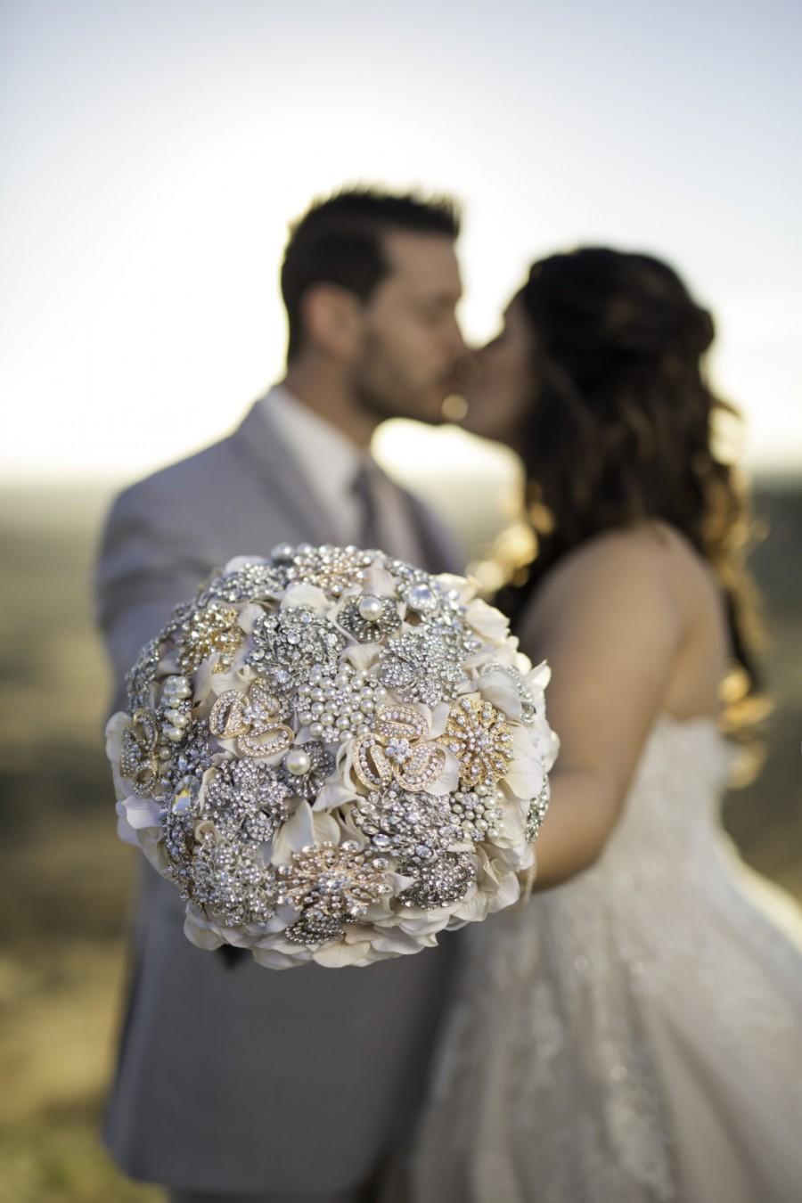 Hochzeit - Ready to Ship Custom Petal Brooch Bouquet