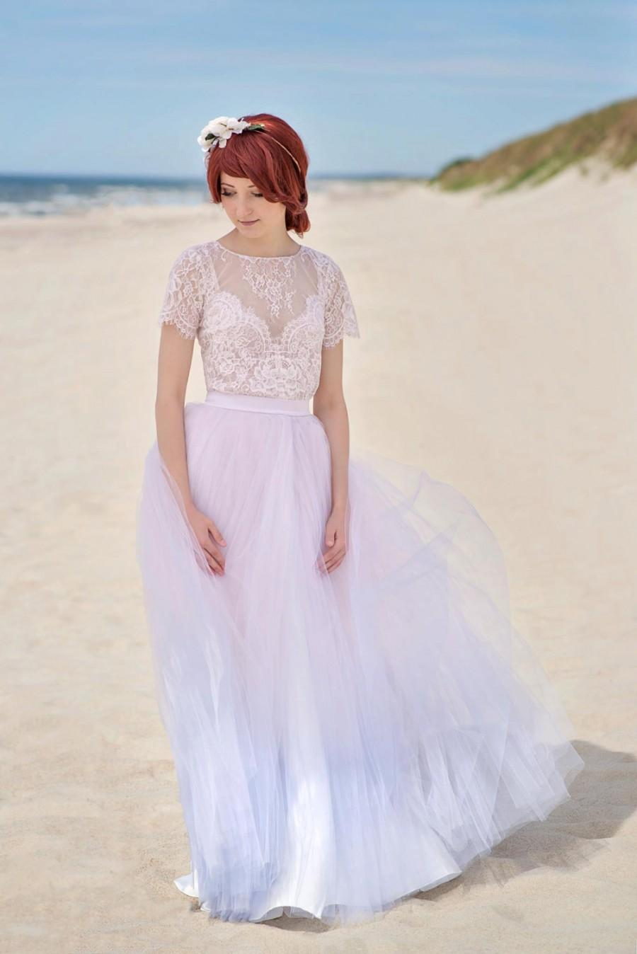 Wedding - Serenity - ombre wedding dress / girly cute wedding dress / lace and tulle wedding dress / dress with a slit / rose quartz and serenity