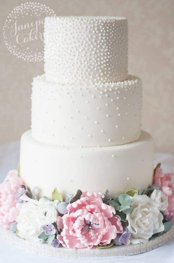 Three Tier Pearl Studded White Wedding Cake