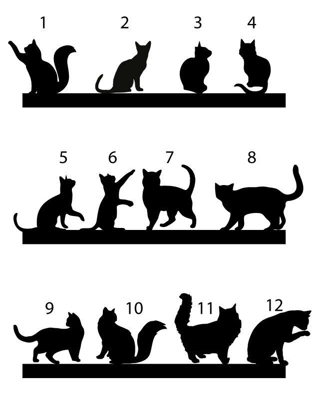 Свадьба - cat Cake topper, wedding cake topper, cats Silhouette cupcake toppers