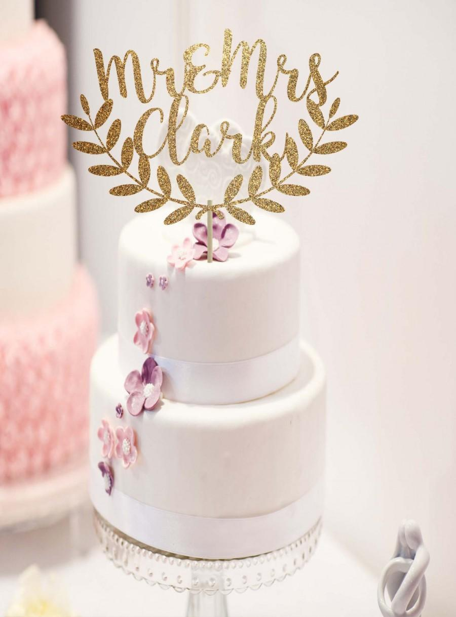 Hochzeit - Custom wedding cake topper rustic wedding decorations cake topper gold mr and mrs cake topper cake topper name