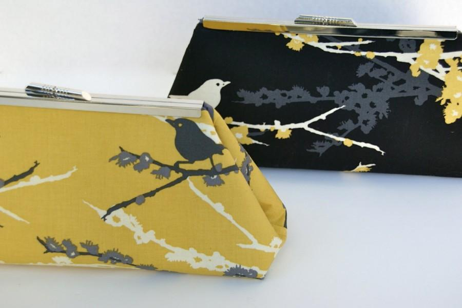 Свадьба - Custom Bridesmaid Gift Clutch in Yellow Gray and Black You Design your own in Various colors and fabrics