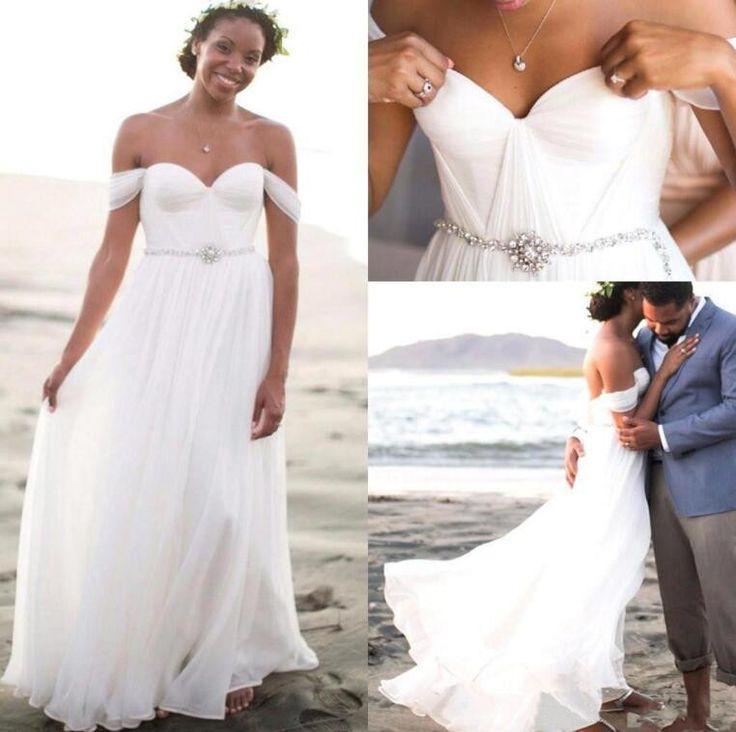 Свадьба - L152 Summer Beach Wedding Dresses, Chiffon White Wedding Gowns, Cheap Wedding Dresses