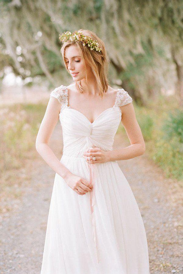 Hochzeit - Elegant Cap Sleeve Long Chiffon Sweetheart Wedding Dress WD030