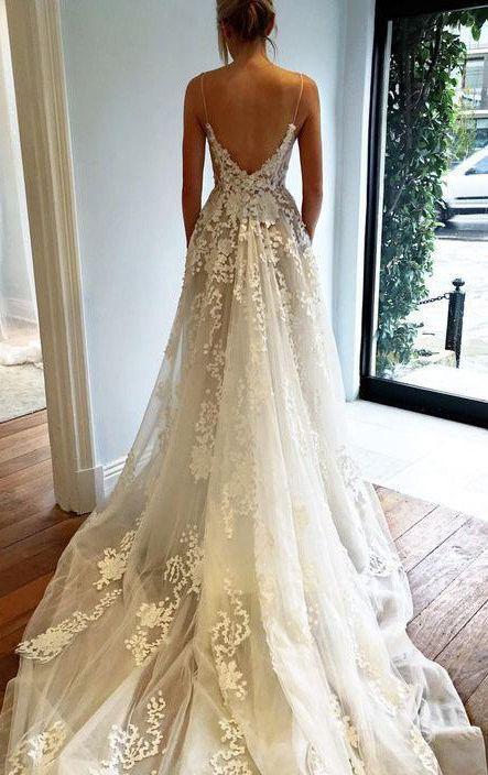 Sexy Deep V Neck Wedding Dress Lace Wedding Dress Open Back Bridal Dresses Spaghetti Straps Wedding Gown Beach Wedding Dress N74 2694778 Weddbook