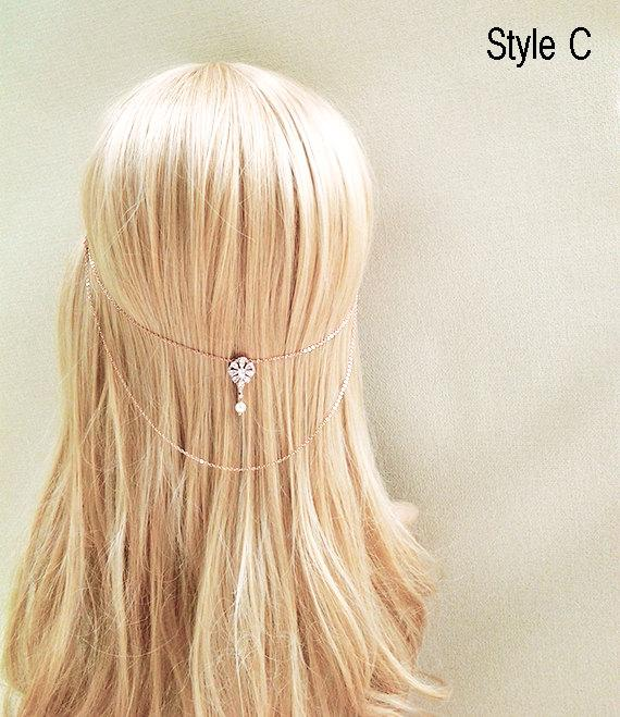 Rose Gold Wedding Pearl Hair Chain Bridal Tiara Wedding Halo Crown