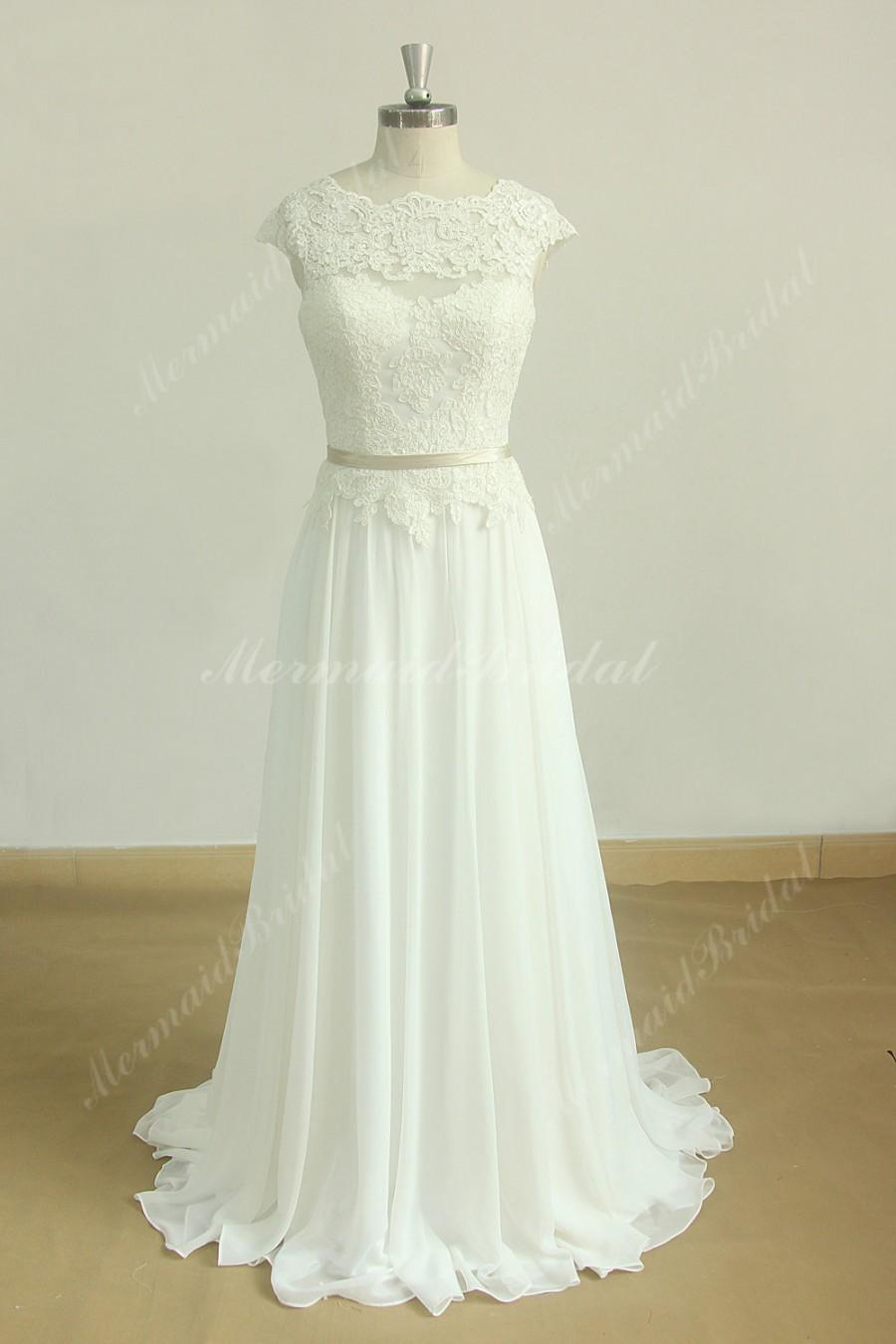 Romantic ivory open back chiffon lace a line simple for Simple romantic wedding dresses