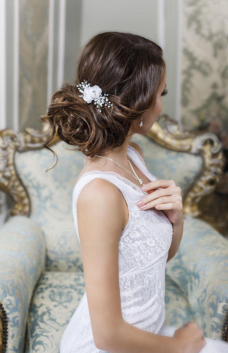 Bridal Hair Clip Flower Wedding Headpiece Piece Floral Comb