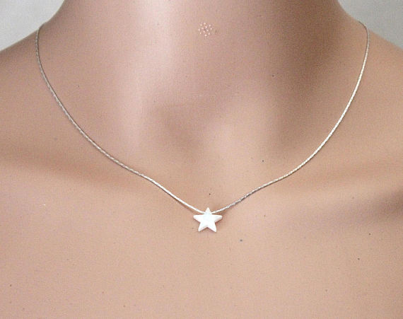 Mariage - Opal Star Necklace, Opal Necklace, Opal Silver Necklace, Opal Jewelry, White Opal Necklace, Blue Star Opal Necklace, Simple Necklace