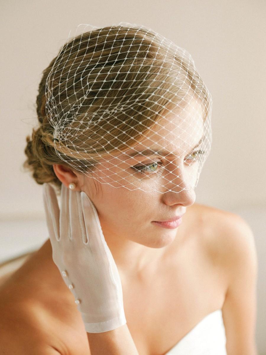 Свадьба - Wedding bandeau veil, bandeau birdcage veil, russian veil, face veil, bridal birdcage veil, crystal veil, rhinestone veil - style 321