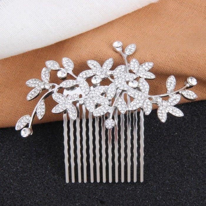 Hochzeit - Rhinestone Leaves Floral Wedding Hair Piece Clips