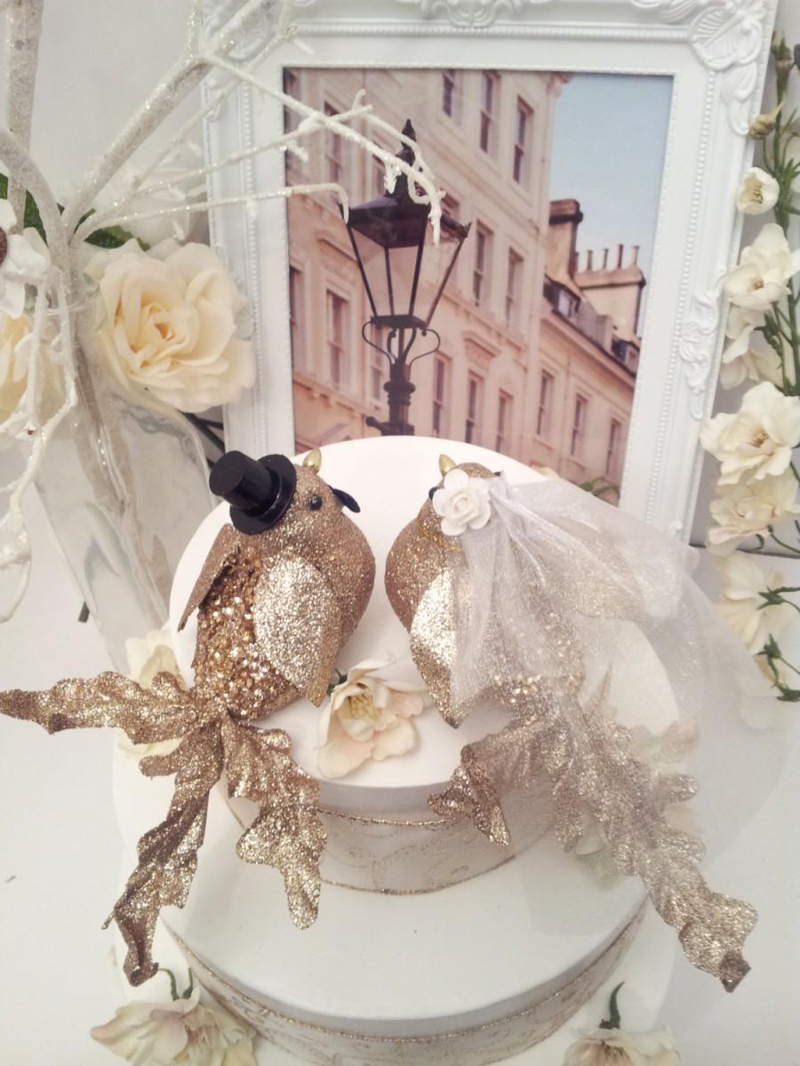 Wedding - choose your head flower wedding   chic elegant  gold bird wedding cake topper or wedding anniversary cake topper