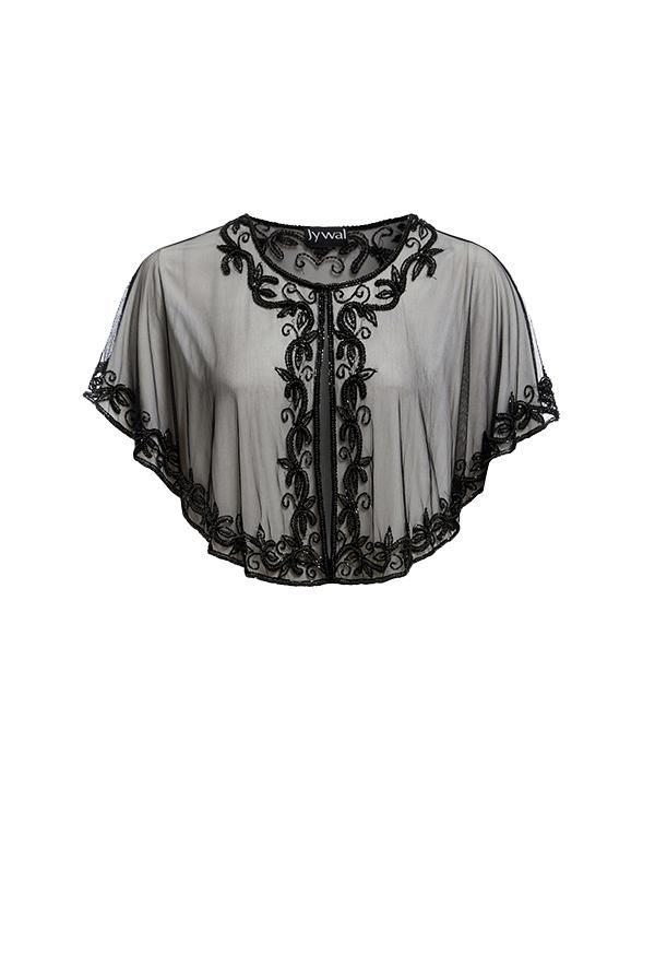 Свадьба - Dorris - Black Embellished Gatsby Black Cape - Jywal