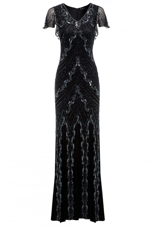 Mariage - Jywal Dame Beaded Long Gatsby Dress in Black