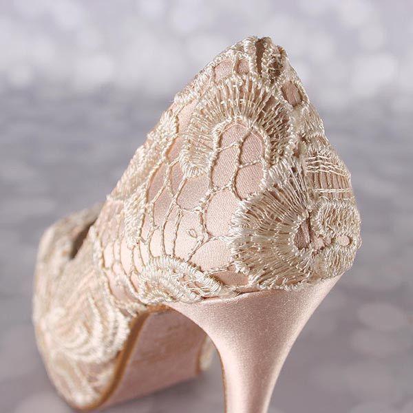 a6484775f7e Blush Platform Peep Toe Wedding Shoes With Ivory Crocheted Lace Overlay