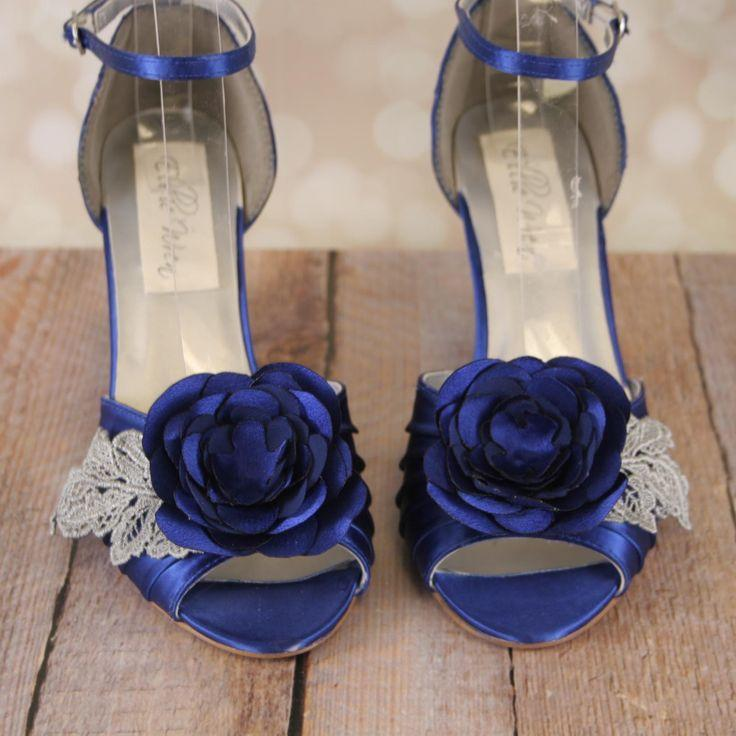 Blue Wedge Wedding Shoes With Matching Flower And Lace Leaves