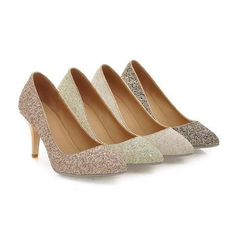 Wedding - Pointed Toe Women Pumps Spike High Heels Sequined Wedding Shoes Woman