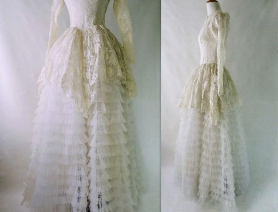 Düğün - 50s Wedding Dress Vintage 50s Wedding 1950s Wedding Dress Tulle Wedding Dress Peplum Wedding Dress Lace Wedding Dress Extra Full Skirt s