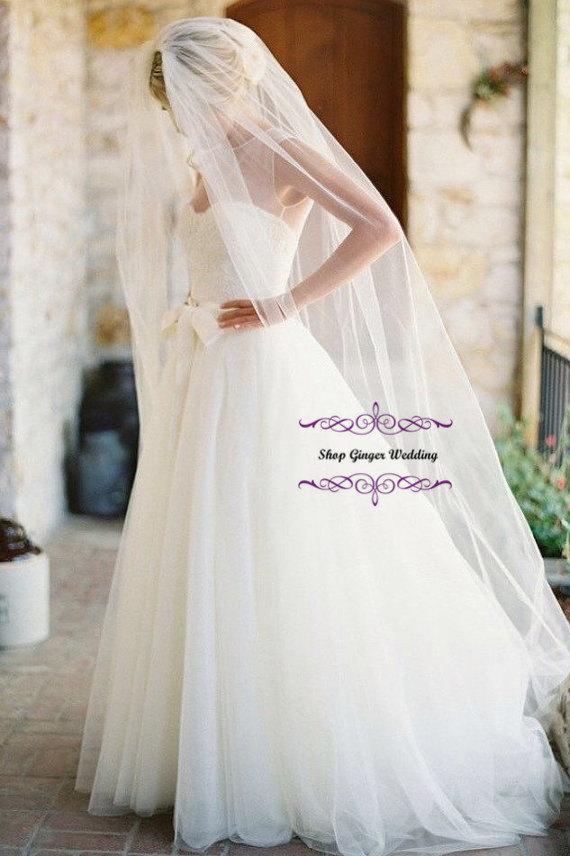 Wedding - Long Cathedral Cut Edge or Raw edge  Bridal Wedding Veil IVory White Off Diamond