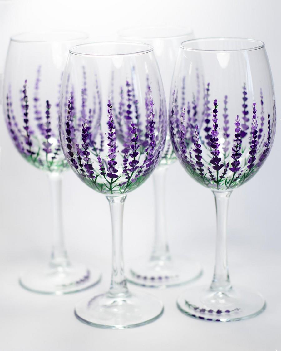 Lavender Wine Glasses Wedding, Mothers Day Gift, Hand Painted ...