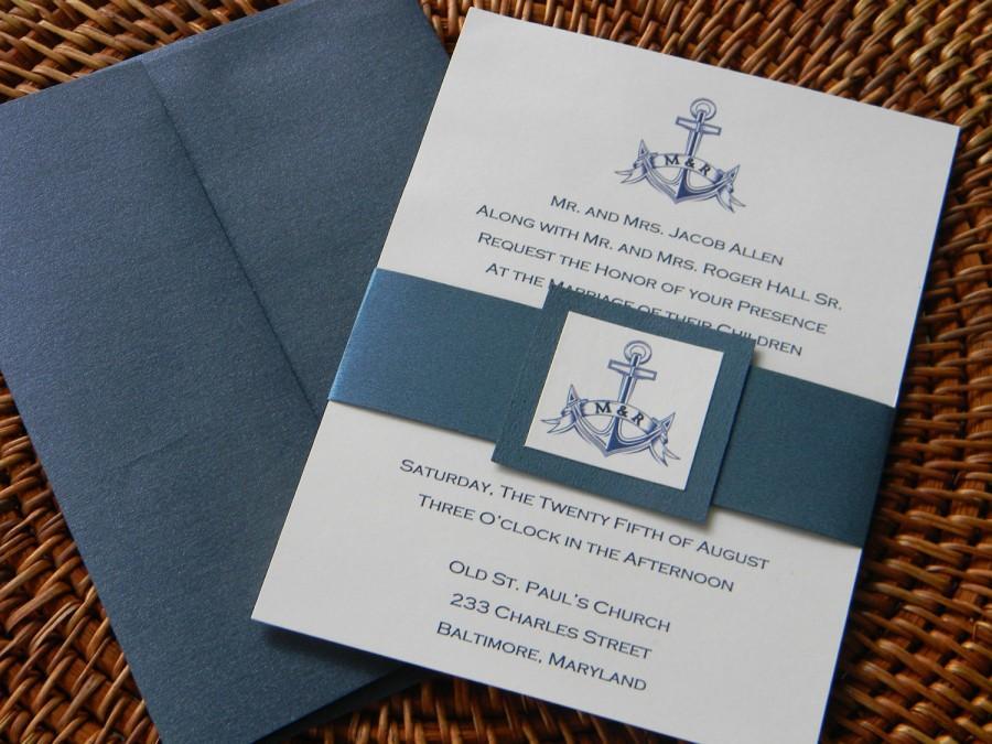 زفاف - Nautical Wedding Invitation, Nautical Wedding, Wedding Invitation, Invitation, Belly Band, Navy, Red,Anchor, Compass
