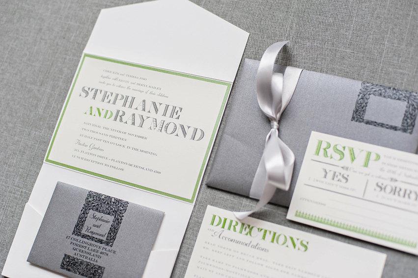Mariage - Vintage Lace Gray Wedding Invitation, Vintage Invitation, Green Wedding, Pocket Wedding Invitation, Grey Invite, Stephanie and Raymond