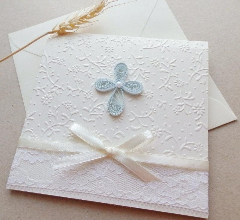 Handmade Boy Christening Invitation/Elegant White Lace Invitation/Unique  Baptism Invitation/Cross Invitation/First Communion Invitation