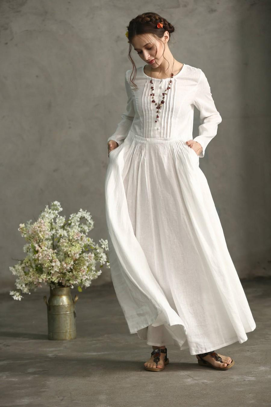 White Linen Dress Maxi Pleated Waist And Pintuck Wedding Tunic Long