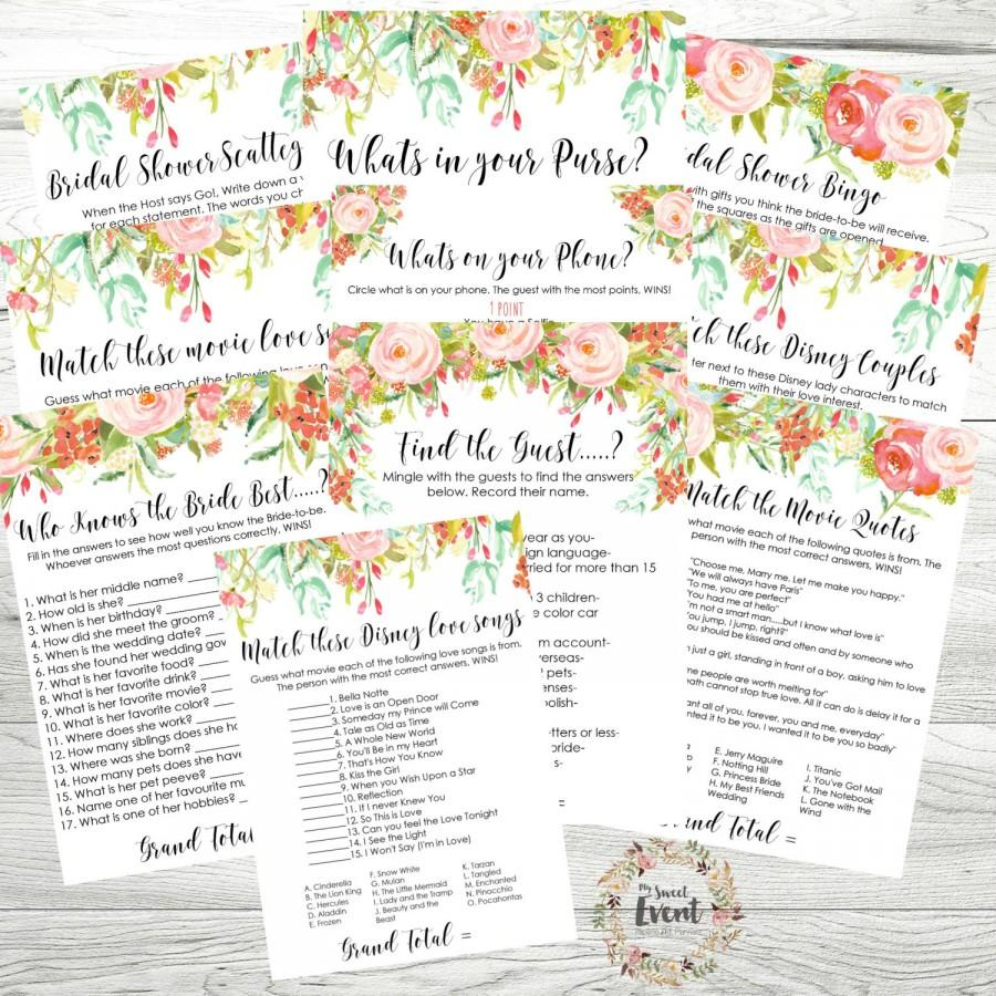 Hochzeit - Bridal Shower Games MEGA Pack - Bridal Shower Printables 10 Games, Shabby Chic Rose Theme, Instant Download