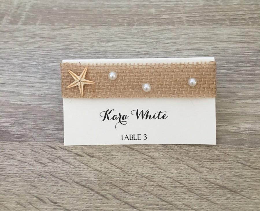 10 Place Cards, Tented Place Cards, Starfish Place Cards, Burlap ...