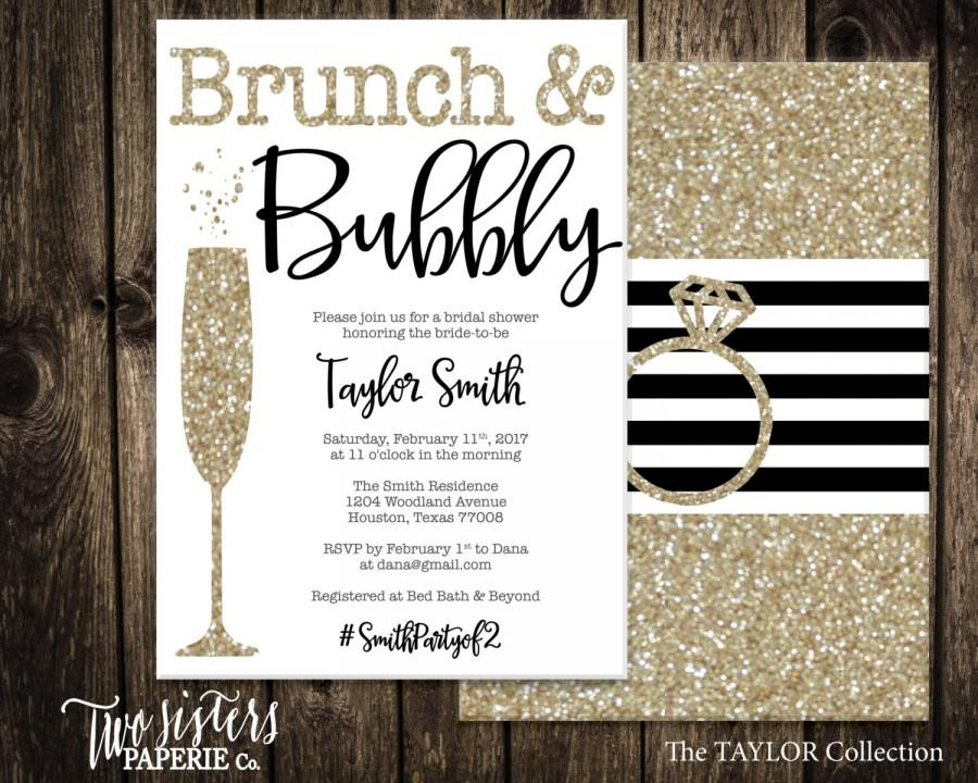 Mariage - Black and Gold Brunch and Bubbly Bridal Shower Invitation - Gold Glitter Brunch & Bubbly Invitation - TAYLOR Collection - Printable File