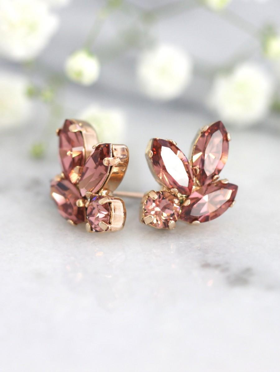 Mariage - Blush Bridal Earrings, Bridesmaids Blush Earrings, Swarovski Pink blush Earrings,Blush Earrings, Bridal Blush Cluster Crystal Studs Earrings