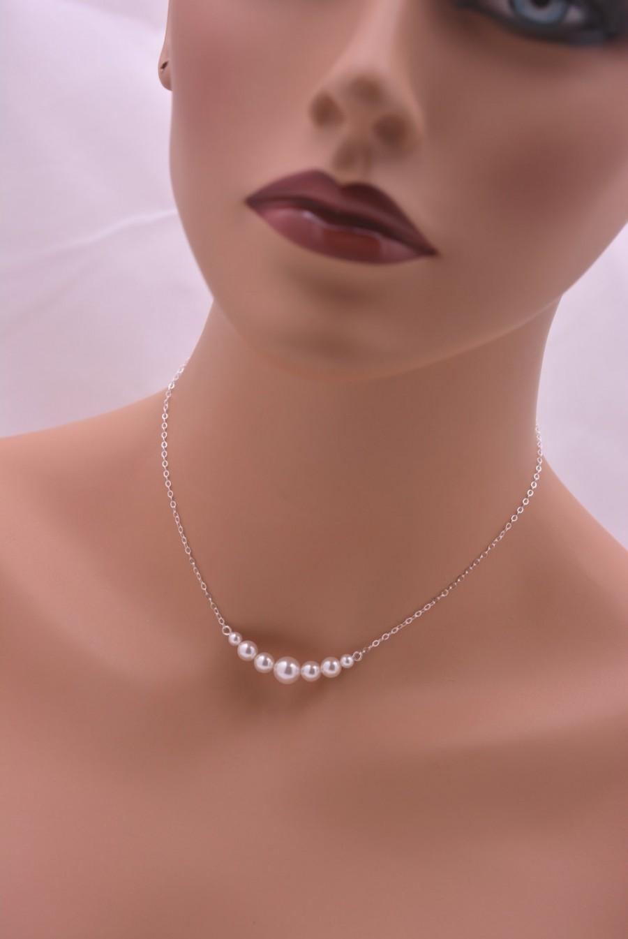 Hochzeit - Sterling Silver Pearl Necklace, Pearl Bridal Necklace, Wedding Necklace, Bridesmaid Necklace, Real Silver 0305