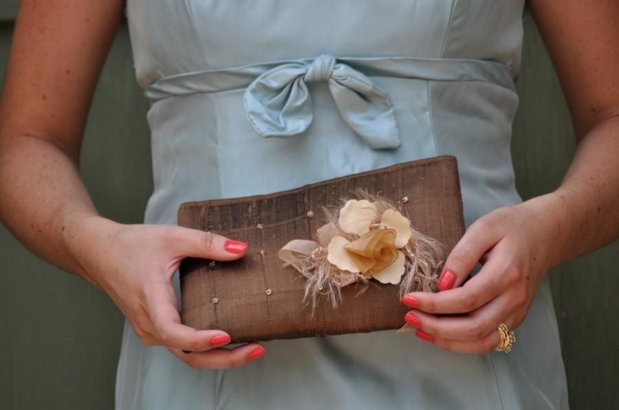 Свадьба - Clutch - The Lily Viola Clutch in Warm Brown silk, bride bridesmaids beaded bag, mother of bride groom flower silk purse