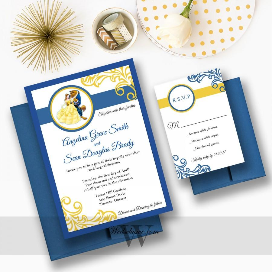 Superieur Beauty And The Beast Wedding Invitations, Disney Weddings, Fairytale Wedding  Cards, Navy And Canary   DEPOSIT
