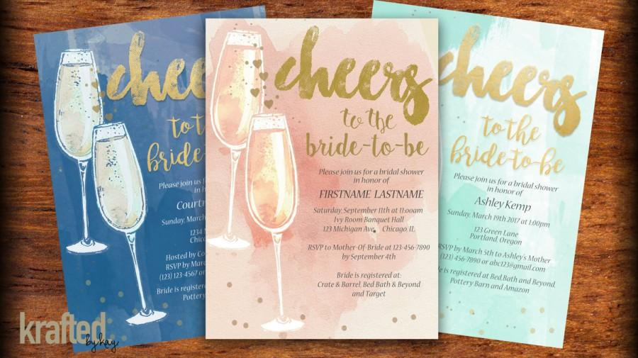 Wedding - Champagne Bridal Shower Invitation - Pink Blue Mint Gold Watercolor Bridal Shower Invitation - Printed or Printable - Free Shipping