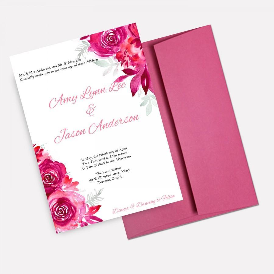 Pink Watercolor Floral Wedding Invitations, Romantic Wedding ...