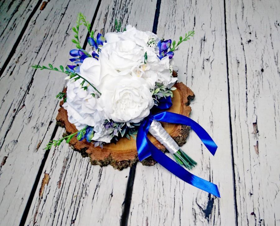 Wedding - READY to SHIP Big white silk hydrangea rose royal blue freesia wedding BOUQUET flowers satin ribbon custom best quality winter summer spring