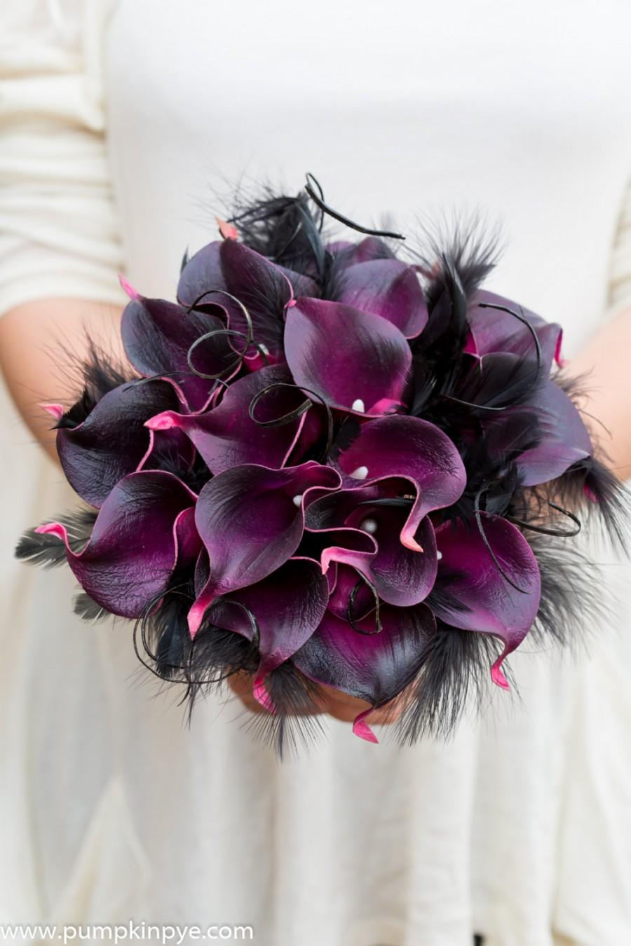 Mariage - Calla and feather real touch bridal bouquet